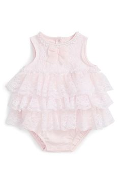 Little Me Lace Popover Sleeveless Bodysuit & Headband Set (Baby Girls)
