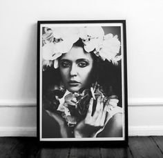 Girl with flowers poster. Fashion poster printable. Black and