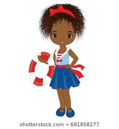 Vector cute little African American girl with buoy. African American Girl, Beginner Painting, Paper Dolls, Afro, Illustration, Nautical, Disney Characters, Fictional Characters, Disney Princess