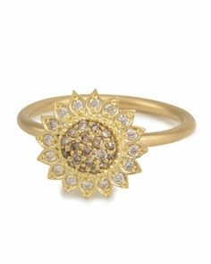 Small+Sunflower+Ring+with+Cognac+and+White+Diamonds,+Size+7+by+Jamie+Wolf+at+Neiman+Marcus.