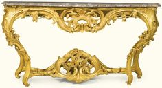 Acarved giltwood console table, Louis XV, circa 1745 | Lot | Sotheby's