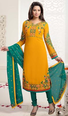 Precise splendor will come out of your dressing style and design with this churidar kameez, georgette fabric in yellow color. Beautified with lace, patch and resham work. #beautifuldresses #reshamworksuit #georgettedress