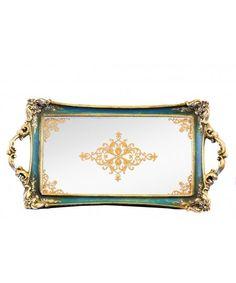 Aynalı Altın-Haki Rengi Dikdörtgen Tepsi 39*18 CM #alyahome #dekor #mutfak #kahve