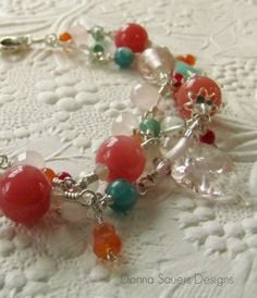 Coral Double Strand Bracelet | Handmade glass beads with peruvian opal, red coral, rose quartz, cherry quartz, and carnelian | Donna Sauers Designs | $158