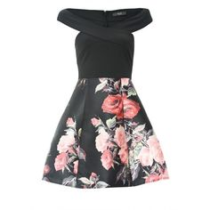 2 in 1 Off Shoulder Black Printed Floral Midi Skater Dress ($46) ❤ liked on Polyvore featuring dresses, floral dresses, floral print dress, mid calf dresses, midi skater dresses and off shoulder floral dress