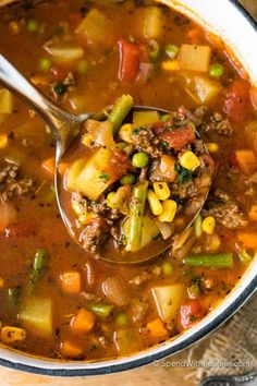 Hamburger Soup is a quick and easy meal loaded with vegetables, lean beef, diced tomatoes and potatoes. It's great made ahead of time, reheats well and freezes perfectly. #spendwithpennies #hamburgersoup #soup #maincourse #easysouprecipe #easyhamburgersouprecipe Beef Soup Recipes, Dinner Recipes, Cooking Recipes, Healthy Recipes, Healthy Soup, Simple Recipes, Quick Recipes, Hamburg Soup Recipes, Quick Meals