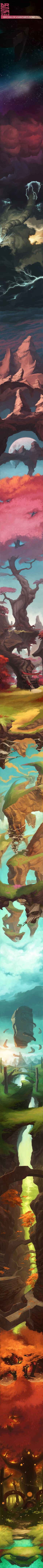 Illustration by Sergi Brosa. One long, continuous illustration. Illustration Manga, Illustrations, Animation, Environmental Art, Storyboard, Game Art, Amazing Art, Dragons, Fantasy Art