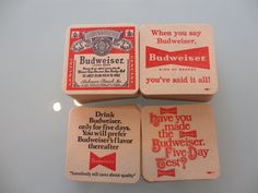 Vintage Budweiser Coasters NOS Set of 100 by MemphisNanney on Etsy