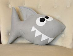 Shark Plush pillow on etsy for nursery