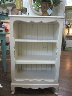 vintage shabby chic hand painted bookcase bead board back distressed white