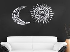 Wall Decals Sun And Moon Crescent Ethnic Dual Symbol Night Sunshine Decal Vinyl Sticker Home Decor Bedroom Interior Design Art Mural EG73 by VinylDecals2U on Etsy https://www.etsy.com/listing/242926874/wall-decals-sun-and-moon-crescent-ethnic #InteriorDesignForTheBedroom