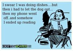Dishes, the dog, reading.