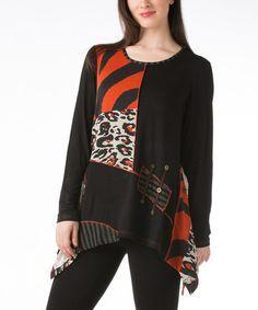 Look at this #zulilyfind! Black & Rust Patchwork Handkerchief Tunic - Women by Dalin #zulilyfinds