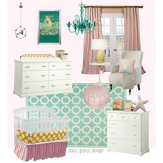 Pink and turquoise mermaid nursery - Lullaby Paints in Cotton Candy would be perfect for this room!
