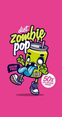 Cute & Funny Pop Art cartoon wallpaper for iPhones! Diet zombie pop - @mobile9 | Wallpapers for iPhone 5/5S/5c, iPhone 6 & 6 Plus #background #art #zombie