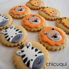 animales de la selva galletas decoradas chicuqui.com Jungle Theme Birthday, Animal Birthday, Baby Birthday, Baby Cookies, Cupcake Cookies, Sugar Cookies, Idee Baby Shower, 2 Baby, Cupcakes Decorados