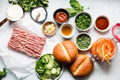 We love burgers, and we love banh mi. Therefore it was only a matter of time before this banh mi burger recipe—a positively irresistible hybrid of the two—was born. Pork Burgers, Burger Buns, Good Burger, Vietnamese Recipes, Vietnamese Food, Banh Mi Recipe, Banh Mi Sandwich, Pork Meatballs, Burger Recipes