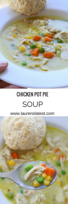 Chicken Pot Pie Soup!! An easy 30 minute chicken dinner that is pretty healthy and so so good!!