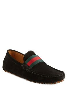 Color(s): black suede. Style Name: Gucci 'New Auger' Driving Shoe (Men).