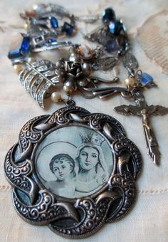'mere et fils' vintage assemblage necklace with prayer card image and Art Deco bracelet links by The French Circus on Etsy