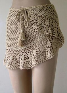 crochet cover up camels hair color cover up crochet pareo women pareo wrap cover mini skirt beach wear ! Skirt Pattern Free, Crochet Skirt Pattern, Crochet Skirts, Crochet Clothes, Free Pattern, Crochet Cover Up, Knit Crochet, Crochet Hair, Cotton Crochet