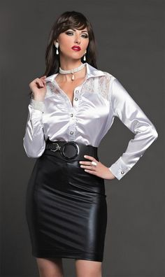 White satin blouse with black leather skirt Blouse Sexy, Blouse And Skirt, Dress Skirt, Dirndl Skirt, Black Leather Skirts, Leather Dresses, Sexy Outfits, Sexy Dresses, White Satin Blouse