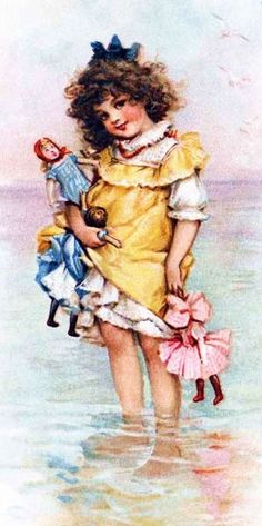 Little girl with brown hair dressed in a yellow pinafore, wading in water, while holding several dolls.