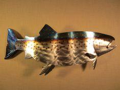 metal art steelhead salmon | ... Stream River Current Alaska Oregon Metal Wall Art Steel Home Decor