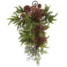 Artificial Garland Inch Pine And Cone Teardrop Garland Artificial Plant :: Heres an eclectic-looking decoration thats both familiar and unusual at the same time. Beautiful faux pine fronds combine with replica pine cones in a teardrop shape that is Pine Cone Art, Pine Cone Crafts, Christmas Swags, Noel Christmas, Primitive Christmas, Country Christmas, Christmas Flowers, Burlap Christmas, Winter Christmas