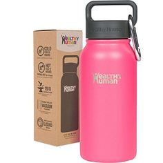 Double Walled Vacuum Insulated Stainless Steel Thermos Flask with Carabiner & Hydro Guide. Color: Orange Sherbert ** Learn more by visiting the image link. 16 Oz Water Bottle, Insulated Water Bottle, Water Bottles, Stainless Steel Thermos, Hiking Equipment, Kids Health, Cold, Steel Water, Camping