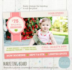 You offer great prices for your mini sessions right? Show off their great value with this template! Photography Marketing Board  Priced Mini by PaperLarkDesigns, $8.00
