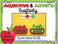 Check out this FREE Parts of Speech Craftivity! Students identify whether the underlined word within each sentence is an adjective or an adverb, and then assemble the craftivity! Elementary Teacher, Upper Elementary, Elementary Schools, 2nd Grade Grammar, Apple Theme, Adverbs, Parts Of Speech, Word Study, Always Learning