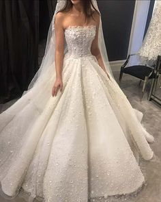 Princess Wedding Dress with Embellished Bodice
