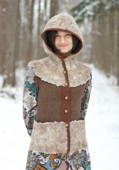 Your place to buy and sell all things handmade Sleeveless Hoodie, Wet Felting, Winter Hats, Vest, Silk, Hoodies, Trending Outfits, Pattern, Jackets