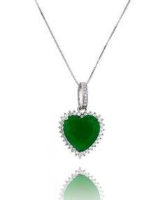 comprar colar de coração com pedra esmeralda semi joias de luxo online  Pedra Esmeralda, Colar 9c8a2ca289
