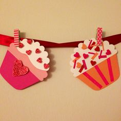 Homemade Valentine's Day Cupcake Garland
