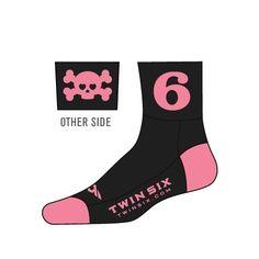 Twin Six cycling socks pink Skulls