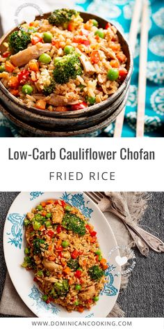 Low-Carb Cauliflower Chofan (Fried Rice) doesn't lack in flavor and hits just the right spot. Are you looking for a low-carb alternative to one of our favorite dishes? #cauliflower #lowcarb #friedrice #chofan #dominicanrecipe @SimpleByClara | dominicancooking.com Delicious Dinner Recipes, Lunch Recipes, Drink Recipes, Herb Recipes, Side Dish Recipes, Cooking Recipes, Mexican Side Dishes, Main Dishes, Latest Recipe