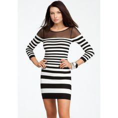 Bebe Mesh Shoulder Stripe Bodycon Dress ($69) ❤ liked on Polyvore featuring dresses, mesh insert dress, white and black striped dress, striped bodycon dress, black and white dress and mesh bodycon dress