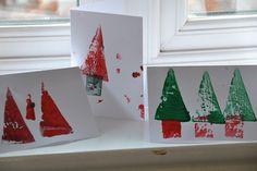 Easy potato print Christmas cards