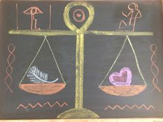 Waldorf ~ grade ~ Ancient Egypt ~ The Scales of Justice Chalkboard Drawings, Chalk Drawings, Chalkboard Art, Ancient Persian, Ancient Art, Ancient Egypt, Greek Phrases, Simple Poems, Cultural Studies