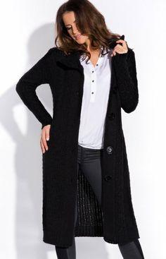 FIMFI I146 sweter czarny Ciepły długi sweter, zapinany z przodu na duże guziki, długi rękaw, z golfem