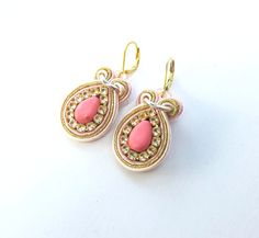 Soutache Earrings Subtle Salmon with Beads Zircons Soutache Braid Glamour and Shiny Style Gift Toho Handmade Jewelry Colorful Soutache