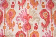 Ikat Pattern Fabric :: Braemore Journey Printed Linen Blend Drapery Fabric in Fruity $11.95 per yard - Fabric Guru.com: Fabric, Discount Fab...
