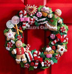 Bucilla Cookies & Candy Wreath ~ Felt Christmas Kit #86264, Gingerbread New 2011 in Crafts, Needlecrafts & Yarn, Other Needlecraft Supplies | eBay