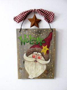 Green Welcome Sign featuring Santa Hand by barbsheartstrokes