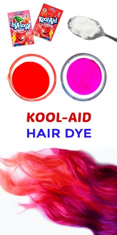 hair Kool-aid hair dye is easy to make and tons of fun! this simple recipe for the easiest way to dye your kids hair at home Hair Dye For Kids, Kids Hair Color, Dying Your Hair, Hair Dye Colors, Homemade Hair Dye, Diy Hair Dye, Hair Dye Tips, Dyed Tips, Makeup Products