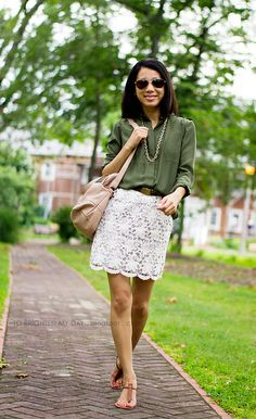 Army green and white lace for a city-safari look via to brighten my day