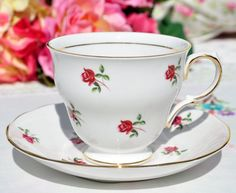 Colclough Fragrance bone china vintage tea cup and saucer with ditsy pink roses pattern c.1960s. Vintage china teaware in excellent condition to buy UK