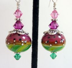 Dark Pink Green Earrings Watermelon Glass by Elegencebyelaine, $25.00